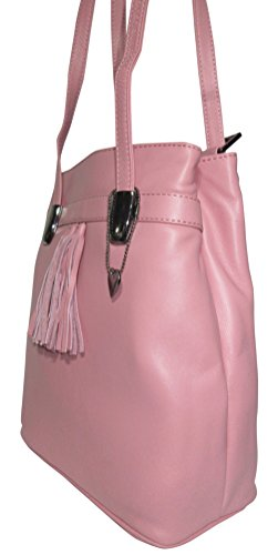 Josybag Leder Rucksack Lissabon Shopper Handtasche Multifunktionstasche Rosa/ Glattleder