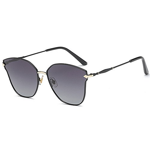 Machst du Sport? Outdoor sunglasse Cat Eye polarisierte Sonnenbrille der Frauen, Metallrahmen, Partei-Modeschau UV-Schutz (Color : Blue)