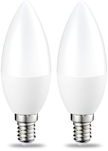 AmazonBasics E14 LED Lampe, Kerzenform, 5.5W (ersetzt 40W), warmweiß, 2er-Pack