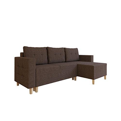 Mirjan24  Ecksofa Lauris, Sofa Couch mit Schlaffunktion und Bettkasten Eckcouch Farbauswahl Ottomane Universal L-Form Bettsofa Schlafsofa (Inari 27)