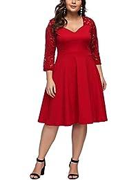 d366278d2d7f FeelinGirl Women's Plus Size Evening Dresses V Neck Half Sleeves High Waist  A Line Party Dress