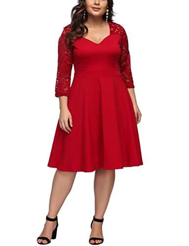 FeelinGirl Damen Plus Size Große Größen Elegantes Langes Spitzenkleid Cocktailkleid Abendkleid Hochzeit Brautkleid mit kurz Ärmel O-Ausschnitt Blumensptizen (Rot kurz, XL (EU 54-56))