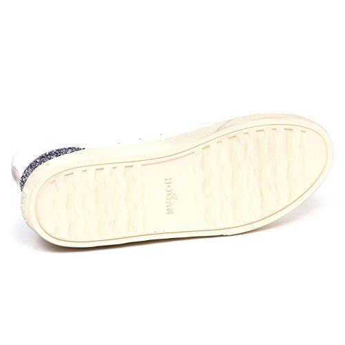 Hogan E0262 Baskets Donna White H342 Salut Top H Flock Glitter Vintage Chaussure Femme Bianco