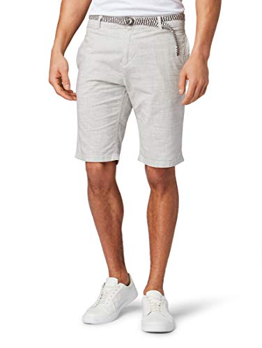 TOM TAILOR Denim Herren Chino Shorts, Grau (Grey Slubby Summer Y 16043), Large