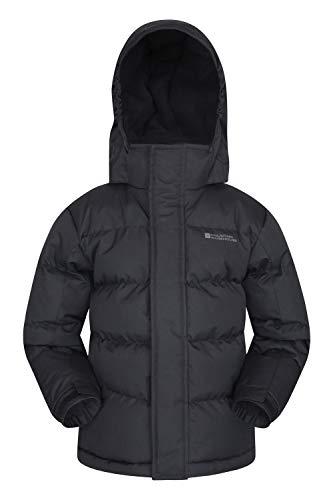 Mountain Warehouse Snow gefütterte Juniorjacke Wasserfeste Warme Winterjacke Kinder Mädchen Jungen Schwarz 140 (9-10 Jahre)