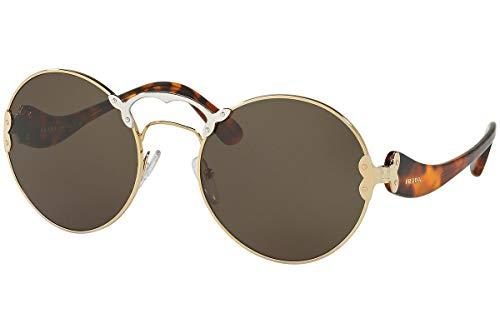 Prada Frau PR55TS Sonnenbrille w/Grün Grau Objektiv ZVN4J1 SPR55T PR 55TS SPR 55T Pale Gold Silber groß