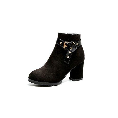 Chaussures Et Bruts Bottes Tête Bottes Des black Le KHSKX Dans Des Femme Bottes Nouveau Hauts Sablage À Des Ronde Talons Martin Nu Talon Et 5wxzRxpF