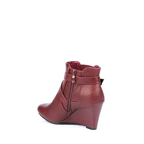 Ideal Shoes-Stiefel mit Veräußerungspositionen Galvina Elektroschock-chelsea Rot - rot
