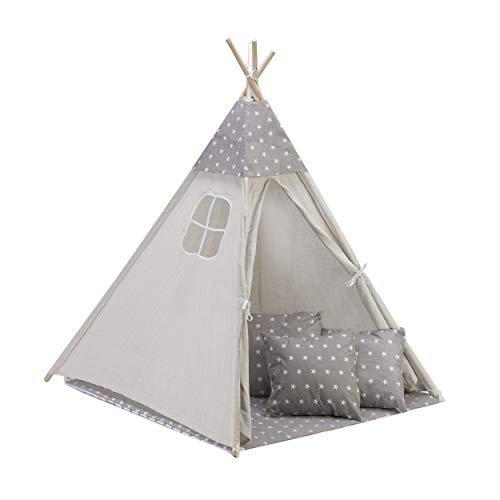 Amazinggirl Tipi Spielzelt für Kinder Zelt Stoffzelt Kinderzelt mit Fenster Holzstangen Indianerzelt Spielhaus (Komplett Grau/Weiß mit Sterne: Tipi + Matte + 3 x Kissen mit Kissenbezug + Cape)