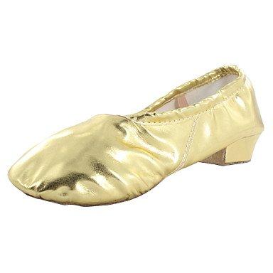 Silence @ Chaussures de danse pour femme en similicuir en similicuir ventre/ballet/Yoga/gymnastique talons/Split Semelle épaisse Talon d'intérieur Silver
