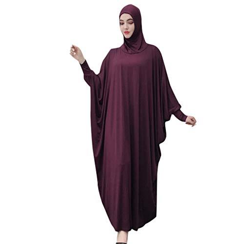 Viahwyt Muslim Roben Frauen einfarbig Kleid Moslemische Kopfbedeckungen Moschee Fledermaus Ärmel Roben Strickjacke Ramadan Kleid(Lila,Freie Größe)