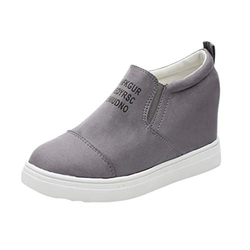 Dorical Damen Plateau Sneakers Wedges Keilabsatz 4 cm Sportschuhe Slip On Ankle Boots Atmungsaktive Laufschuhe Outdoor Freizeitschuhe Turnschuhe Gr 35-43(Grau,40 EU)