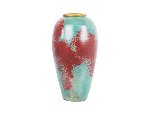 Große, Moderne Bodenvase in Rot/Mintgrün Carteia