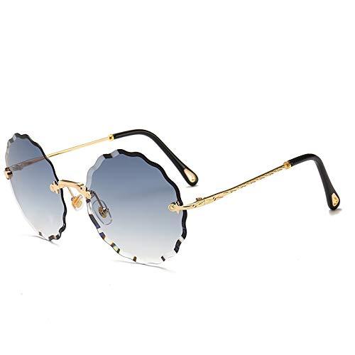 XIAOXINGXING Runde Sonnenbrille Frauen Markendesigner Randlose Sonnenbrille for Weibliche Tönung Mode Rosie Eyewear (Lenses Color : Gradient Blue Gray)