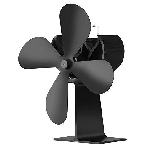 JOYOOO Ventilatore da camino,Ventola termica a 4 pale per stufa a legna camino a legna Ventola della carbone tronchi, funzionamento silenzioso Ventola ecologica ed efficiente(Nero)
