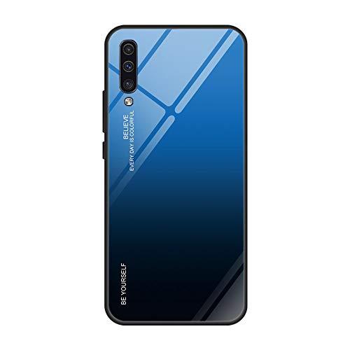 Kompatibel mit Samsung Galaxy A50 Hülle,9H Gehärtetes Glas +Silikon Bumper Frame Ultra dünn Spiegel Handyhülle Farbverlauf Back Cover Clear Mirror Case Kratzfest Tasche Schale für Galaxy A50 (A50, 7)