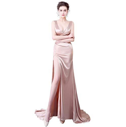 DROHE-Q Frauen Formale Kleid, Sexy Tiefem V-Ausschnitt Backless Split Rock Nacht Shop Auto Modell Abend Party Lange Kleider Champagner (Lange Champagner-rock)