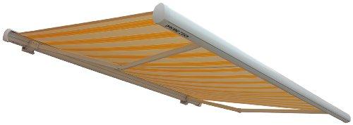 Prime Tech Elektrische Kassettenmarkise / Gelenkarm-Markise 500 x 300 cm / Gehäuse weiß / Tuch gelb-modern / #3005