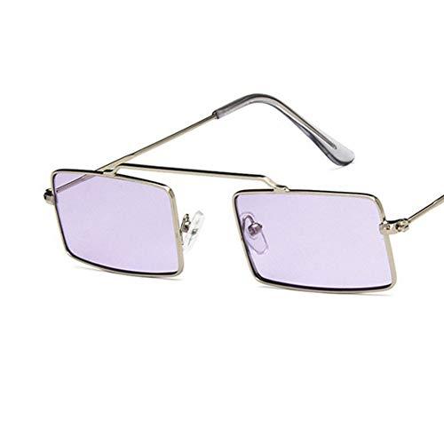 YLNJYJ Marke Rechteck Sonnenbrille Rot Schattierungen Vintage Kleine Schmale Sonnenbrille Für Frauen Männer Platz Metallrahmen Klare Linse Brillen