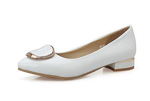 VogueZone009 Femme Tire Pu Cuir Pointu à Talon Bas Mosaïque Chaussures Légeres Blanc