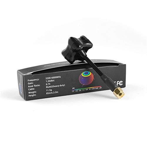 Especificaciones:   Color: negro   Rango de frecuencia: 5500-6000MHz   Ganancia: 1.26 DBIC   Relación axial: 0,74   Cable: RG402 (servicio pesado)   Peso: 11g   Altura: 79mm/3.1 en   Conector: SMA   Tamaño de la base: 25x25mm/1.0 x 1.0 en   Tam...