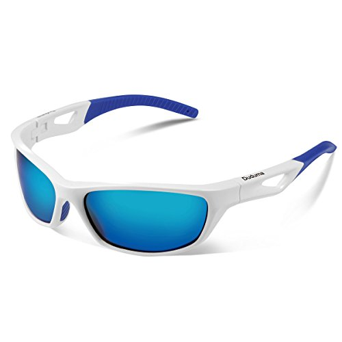 Duduma Gafas de Sol Deportivas Polarizadas Para Hombre Perfectas Para Esquiar Golf Correr Ciclismo TR821 Súper Liviana Para Hombre y Para Mujer (marco blanco con lente azul)