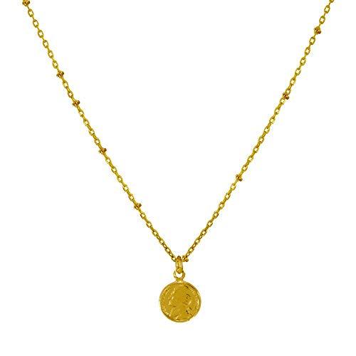 Schmuck Les Poulettes - Vergoldet Halskette Fünf Cent Münze -