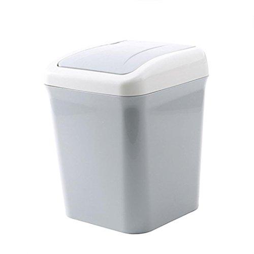 Hukz Schwingdeckeleimer Tragbar Zuhause Büro Mülleimer Abfall Lagerung-16x10x10cm (Grau) -