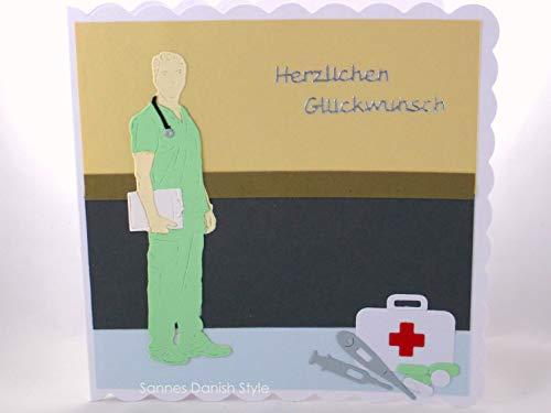 Geburtstagskarte Arzt, Pflegekraft, Mediziner, Grußkarte Mann, die Karte ist ca. 15 x 15 cm (Karten Und Ca)