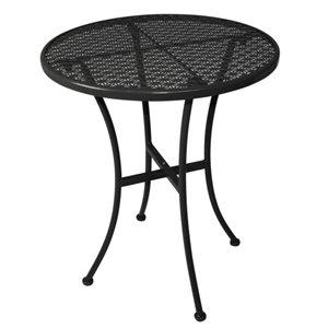 Commercial Black Steel Patterned Round Bistro Table Black 600mm - Cafe Bistro Restaurant Hotel Bar Pub Home Indoor Outdoor Outside Garden Metal Dining