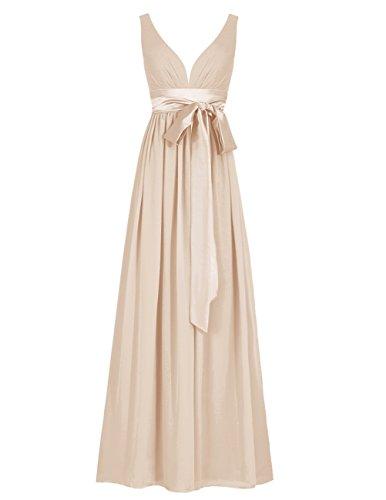 Dresstells Robe de cérémonie Robe de soirée col en V sans manches dos nu longueur ras du sol Champagne