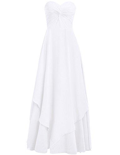 HUINI Damen Modern Kleid Weiß