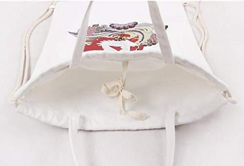 OOGUOSHENG Canvas Rucksack Crane DualDrawstring Umhängetasche Rucksäcke Für Mädchen Im Teenageralter (Drawstring-rucksack Mädchen)
