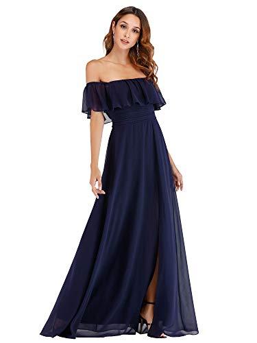 Ever-Pretty Vestito da Festa Donna Linea ad a Lungo Blu Navy 42