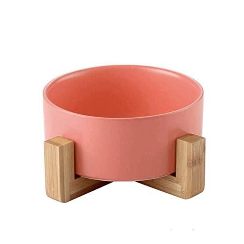 DBOWLSS-TC Keramik-Fressnäpfe, Bambus Erhöhte Lebensmittelschalen Gezüchtete Futterständer Haustier-Zufuhr Haustier Hund Katze Füttern Wasser-Schüssel (Color : Pink)