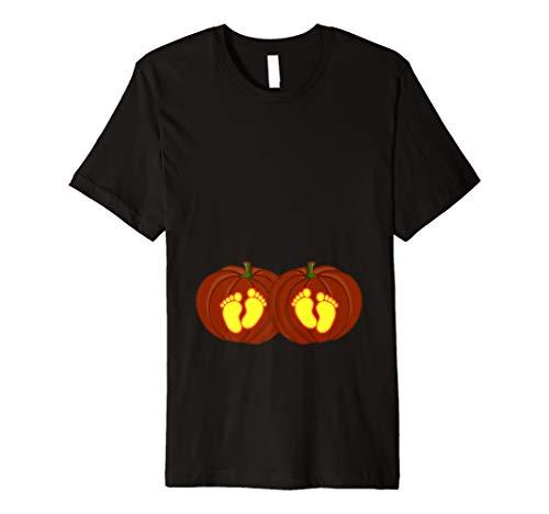 Halloween Kürbis Zwillinge Schwangerschaft Kostüm T Shirt