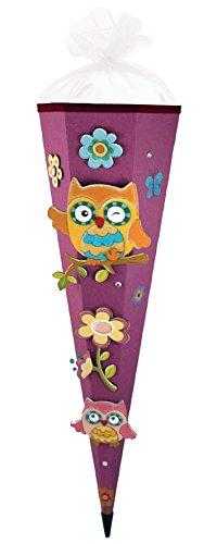 Olivia the Owl Eule Schultüte 85cm 3D-SCHNELL BASTELTÜTE vorgefertigt stabiler Tütenkorpus pass. zum Schulranzen Olivia