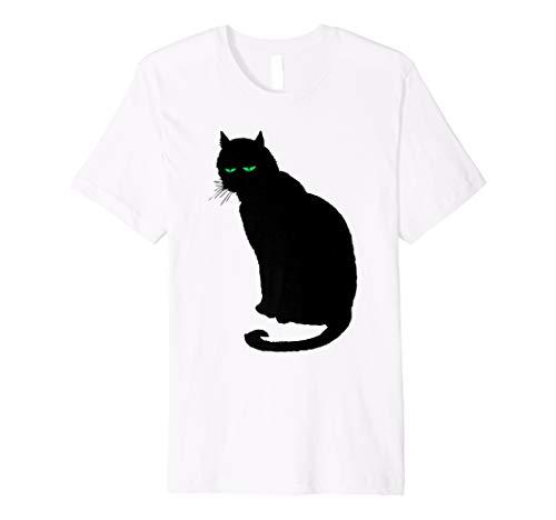 Schlaff schwarz Katze grünen Augen Vintage Halloween T-Shirt