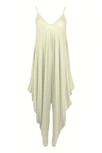 GirlzWalk-Bustino Lagenlook Strappy Baggy Harem Tuta Dress Cream XL/ Taglia 48-50