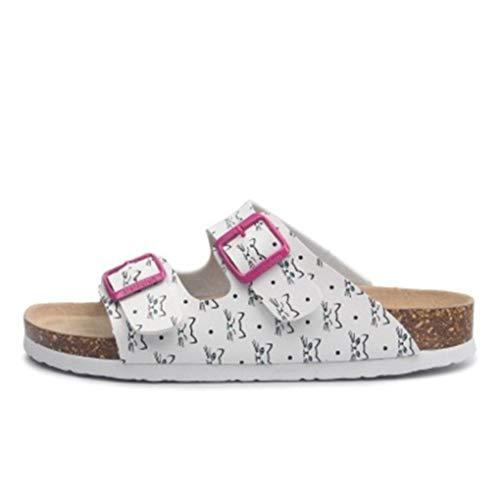 Frauen Slide Sandalen Open Toe Slip on Double verstellbare Schnallen Sandale Kork Fußbett Sommerschuhe -