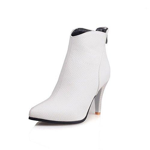 VogueZone009 Damen Weiches Material Spitz Zehe Eingelegt Niedrig-Spitze Hoher Absatz Stiefel, Weiß, 35