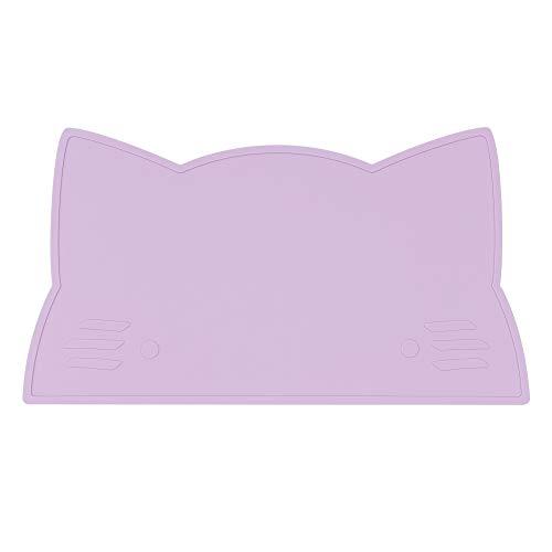 Tovaglietta in silicone per neonati e bambini in lilla a forma di gatto (senza BPA e lavabile in lavastoviglie)