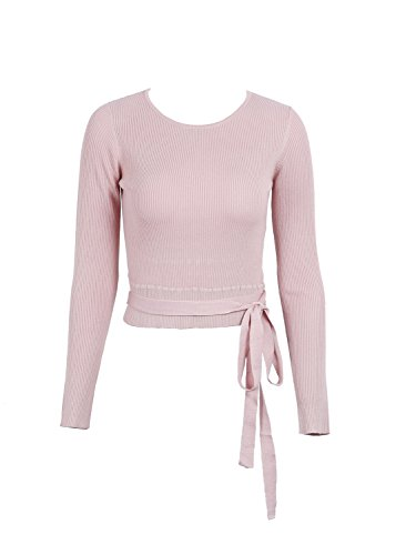 Simplee Apparel Damen Langarmshirt Casual Elegant Hollow Out Sweater Strickpullover Shirt Oberteile mit Band Rosa