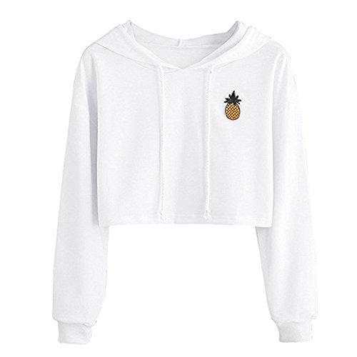 Siennaa Pulli Damen Frauen, Teenager Mädchen Bauchfrei Kapuzenpullover Ananas Muster Langarm Kurz Hoodie Sweatshirt Crop Pullover Tops Langarmshirt (Weiß, S) -