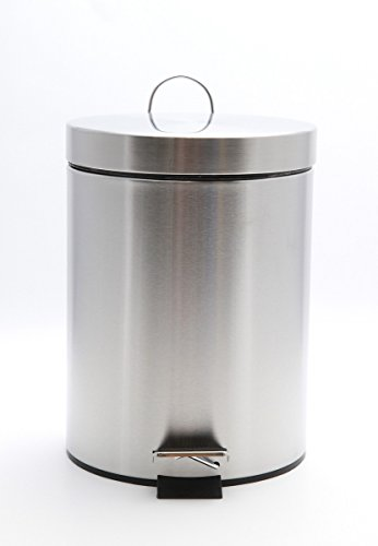 Carpemodo poubelle inox 5 l/poubelle à pédale avec couvercle, mécanisme de couleur argent et avec son seau intérieur amovible poubelle à pédale ronde en acier inoxydable