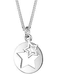 Elli Damen Schmuck Halskette Kette mit Anhänger Stern Münze Cut Out Astro Trend Silber 925 Länge 45 cm