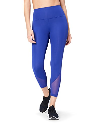 Core 10 Damen 7/8-Jogging-Tights mit Mesh-Einsätzen und hohem Bund, Blau (brite blue), Medium -