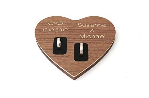Ringkissen Herz mit Namen und Datum aus Holz Hochzeit, Ringschale, Ringbrett aus Holz mit Gravur in Herzform