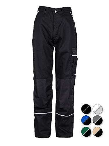 TMG® Robuste Arbeitshose für Männer | Lange Herren Bundhose mit Kniepolster Taschen und Reflektoren | Handwerker, Elektriker, Mechaniker | Schwarz 50