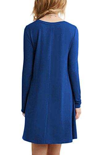 YMING Damen Langarm Kleid Lose T-Shirt Kleid Rundhals Casual Tunika Mini Kleid 14 Farben,XS-XXXXL Blau
